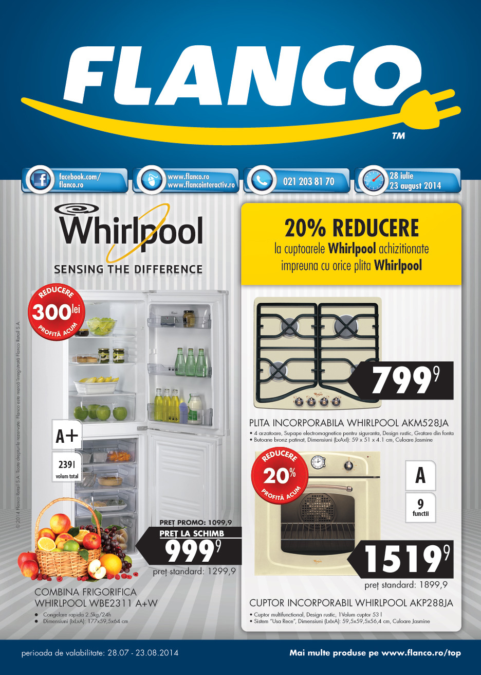 catalog flanco reduceri whirlpool 28 iulie 23 august 2014. Black Bedroom Furniture Sets. Home Design Ideas