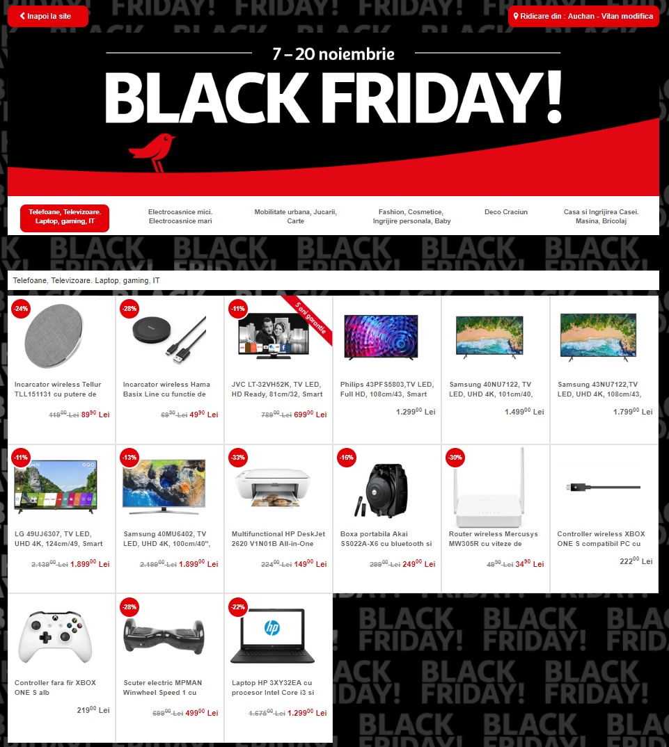catalog auchan black friday noiembrie 2018 catalog az. Black Bedroom Furniture Sets. Home Design Ideas